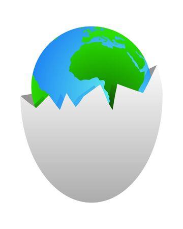 World in egg shell Vector