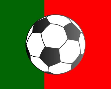 Flag of Portugal and soccer ball Vector