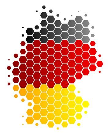 Mapa y la bandera de Alemania  Ilustración de vector