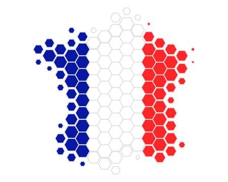 Karte und Flagge Frankreichs