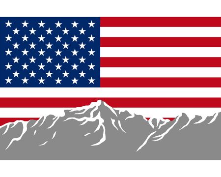 Mountains with flag of USA Stock Vector - 7943508