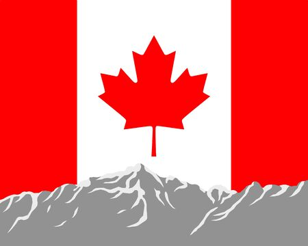 Mountains with flag of Canada Stock Vector - 8027784