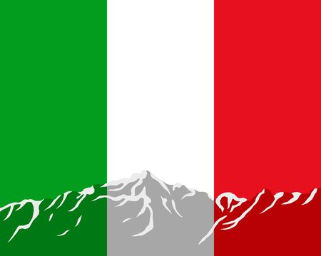 Mountains with flag of Italy Vector