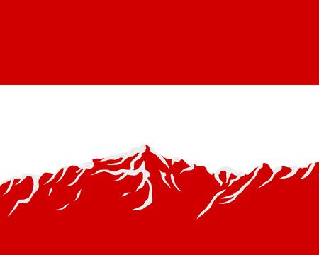 austria flag: Mountains with flag of Austria