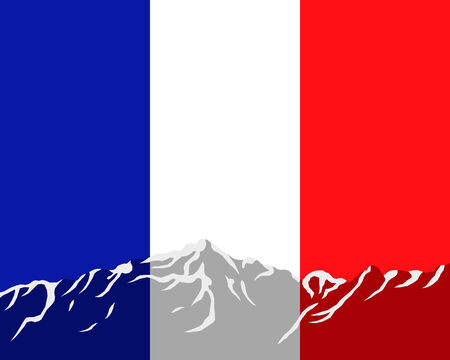 Mountains with flag of France Stock Vector - 8274072
