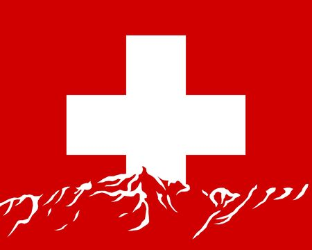 Mountains with flag of Switzerland Vector