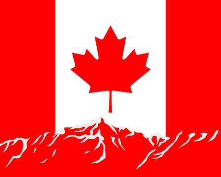 canada flag: Mountains with flag of Canada