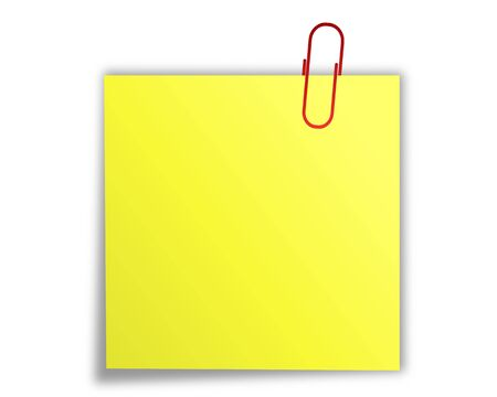 yellow note: Note paper with paper clip