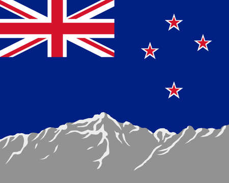 Mountains with flag of New Zealand Vector