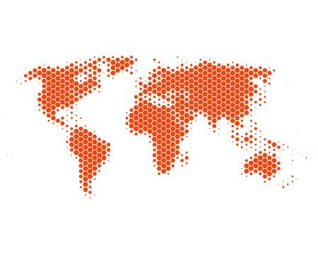 World map in hexagons Vector