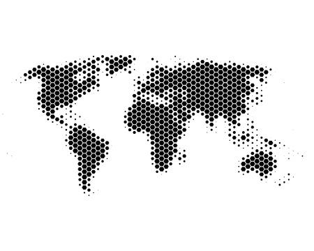 Kaart van de wereld in zeshoeken Stock Illustratie