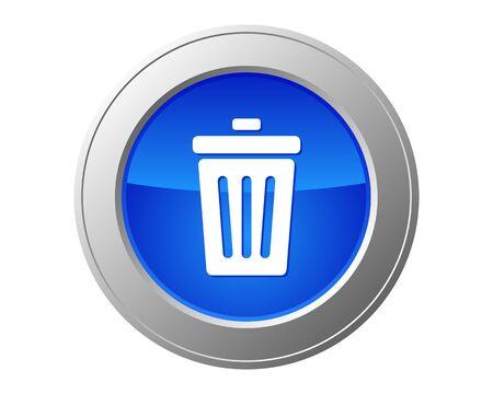 poubelle bleue: Corbeille bouton Illustration