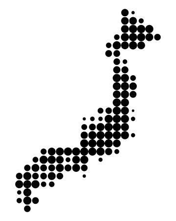 dotted world map: Map of Japan Illustration