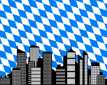 City and flag of Bavaria Vector