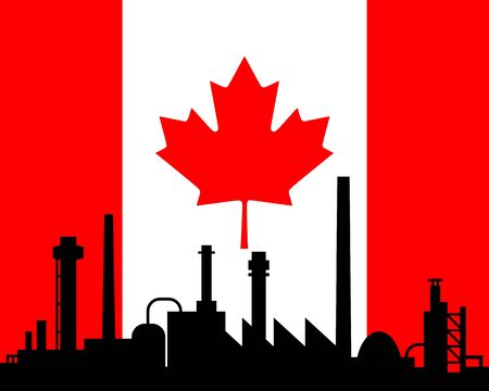 Industry and flag of Canada Vector