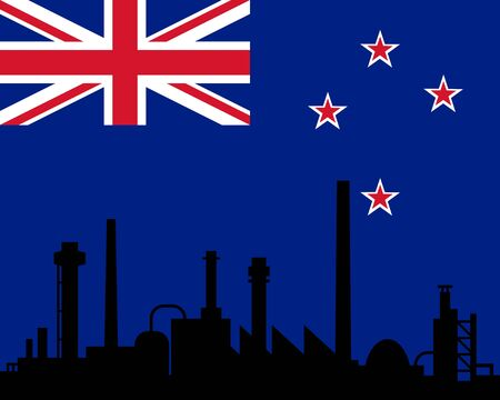 new zealand landscape: Industry and flag of New Zealand