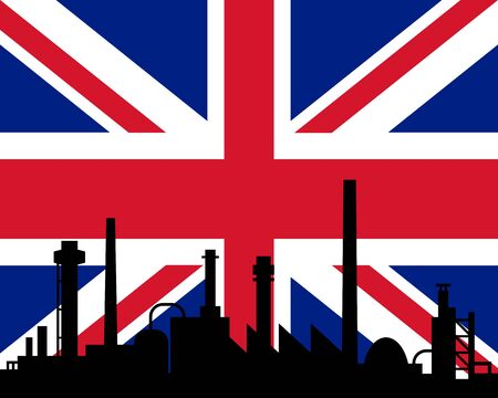Industry and flag of Great Britain Vector
