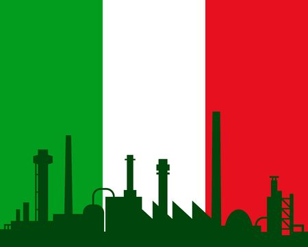 Industry and flag of Italy Vector