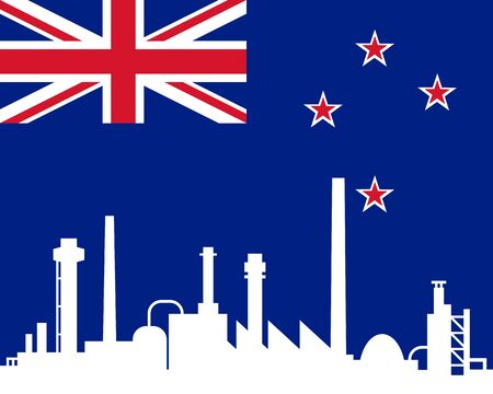 Industry and flag of New Zealand Vector