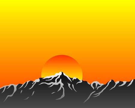 sunrise mountain: Mountains with sun Illustration