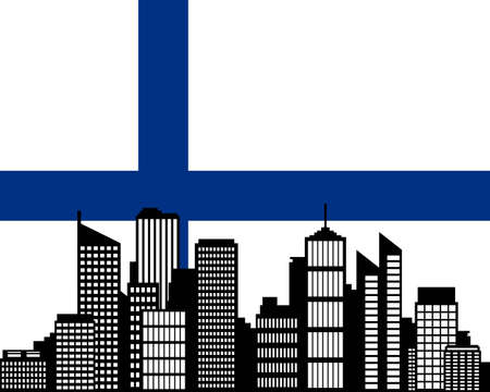 City and flag of Finland
