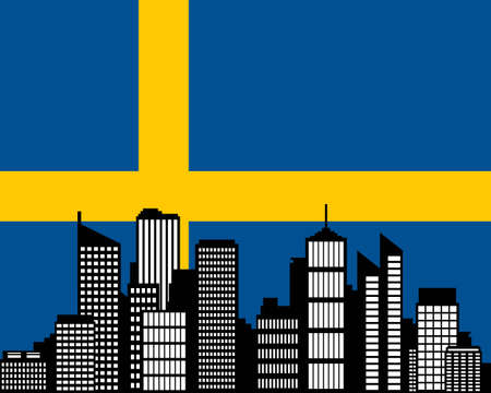 City and flag of Sweden Vector