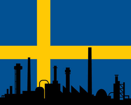 Industry and flag of Sweden Vector