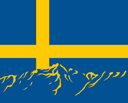 Mountains with flag of Sweden Vector