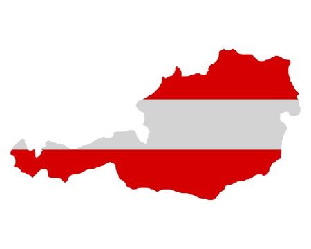 austria map: Map and flag of Austria