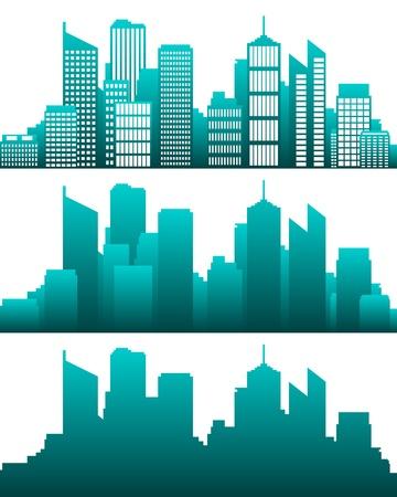silhouette of a city: City skyline Illustration