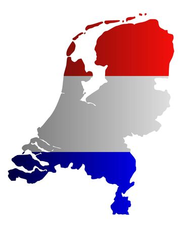 holland: Map and flag of the Netherlands