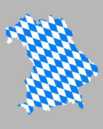 bavaria: Map and flag of Bavaria Illustration