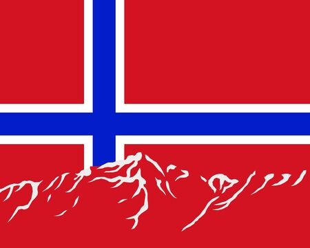 Mountains with flag of Norway Vector