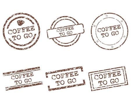 Coffee to go postzegels Stock Illustratie