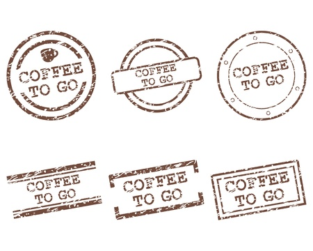 caf� � emporter: Coffee to go timbres Illustration