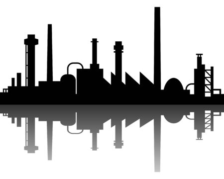 silhouette industrial factory: Industrial background