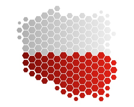 hexagon background: Map and flag of Poland
