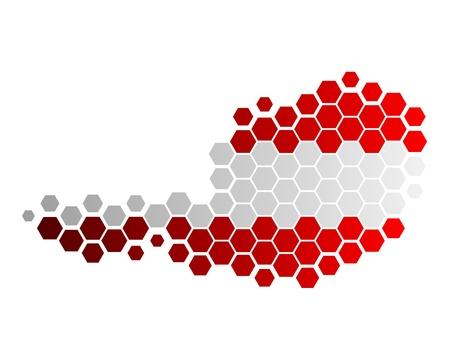 Kaart en vlag van Oostenrijk