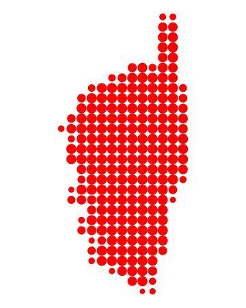 corsica: Map of Corsica Illustration