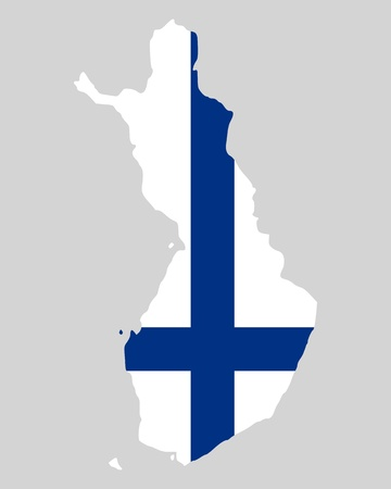 Map and flag of Finland Vector