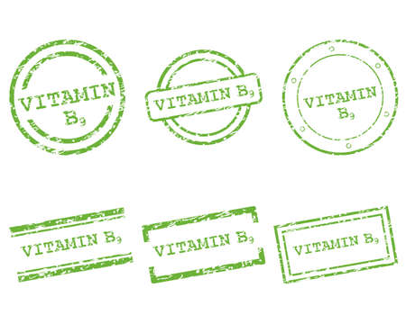 Vitamin B9 stamps Vector