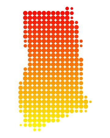 ghana: Map of Ghana Illustration