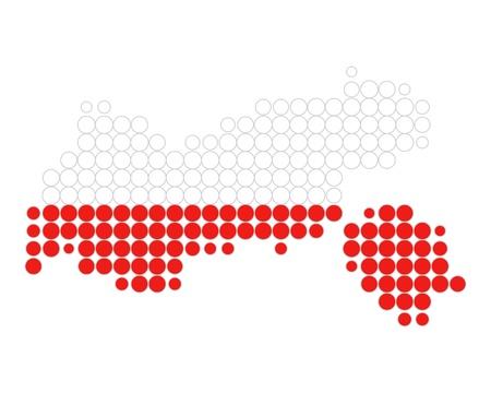 チロル: 地図とチロル州の旗  イラスト・ベクター素材