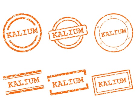 kalium: Kalium postzegels Stock Illustratie