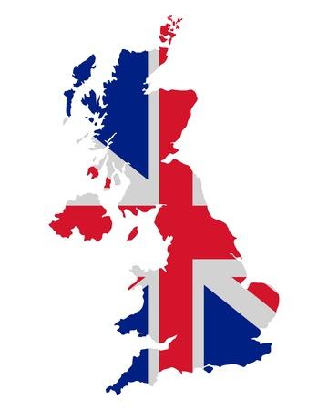 Kaart en vlag van het Verenigd Koninkrijk Stock Illustratie