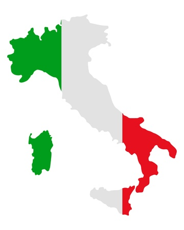 flag of italy: Map and flag of Italy Illustration