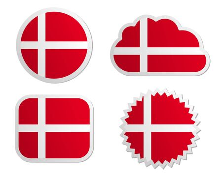 Denmark flag labels Vector