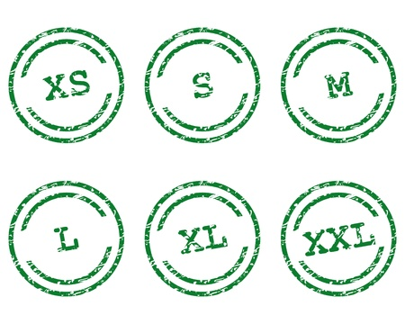 Clothing size stamps Vector