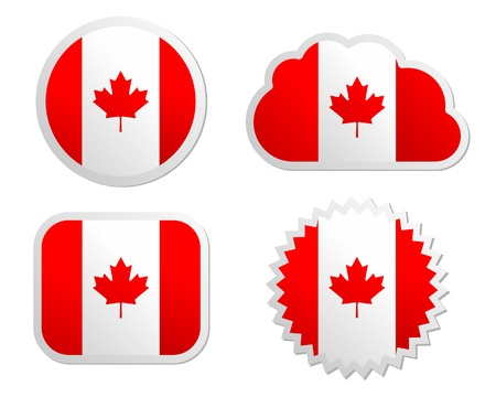 Canada flag labels Vector