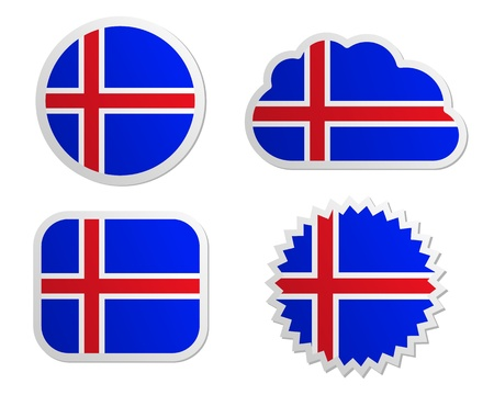 Iceland flag labels Vector